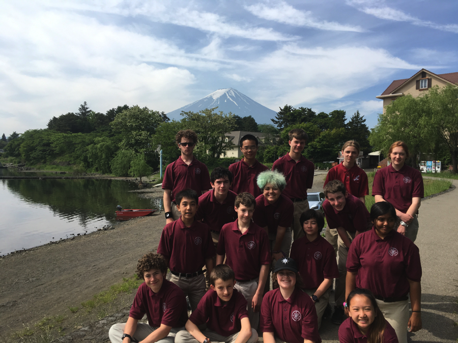 The 2016 Odyssey Mountaineering Team with Mt. Fuji in the background